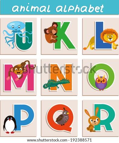 "Vector Animal Alphabet. Letter ""J"", ""K"", ""L"", ""M"", ""N"", ""O"", ""P"", ""Q"", ""R"" - stock vector"
