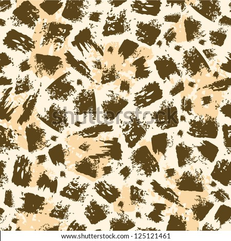 Vector animal brush stroke seamless pattern background  with hand drawn elements - stock vector