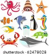 VECTOR - Animal Fish Set:  crab, octopus, fish, shark, turtle,  jellyfish,  whale, sea horse, star - stock vector