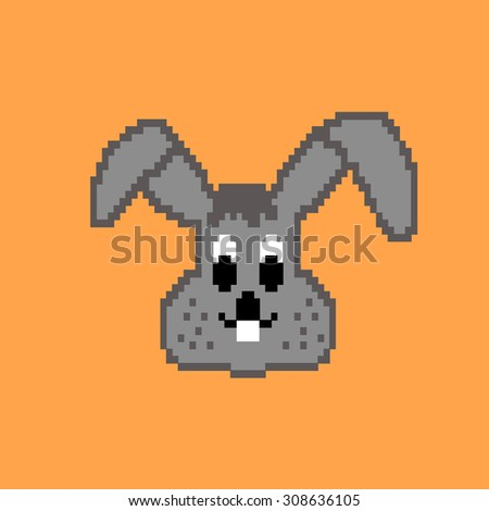 Vector animal icon. The rabbit on yellow for design children games .