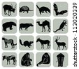 Vector animal icons set collection - stock photo