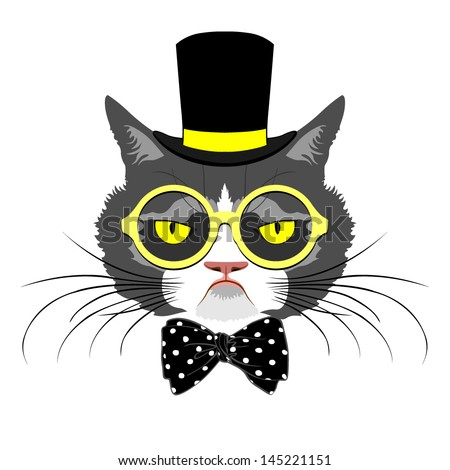 vector animal, portrait of cat in tall hat with polka dot bow and round yellow glasses, vintage look, cat dressed in retro style - stock vector