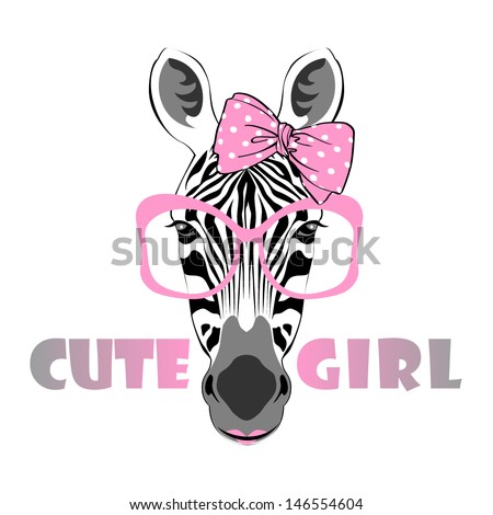 vector animal portrait, zebra in pink glasses with bow, cute girl