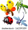 vector animal set 53: insects: praying mantis, butterfly, ladybug, dragonfly - stock photo
