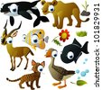 vector animal set: orca, lioness, fish, impala, cat, goose - stock vector