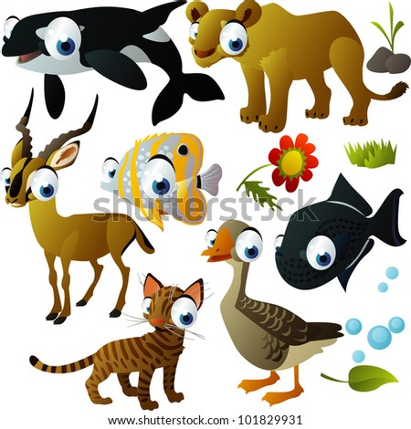 vector animal set: orca, lioness, fish, impala, cat, goose