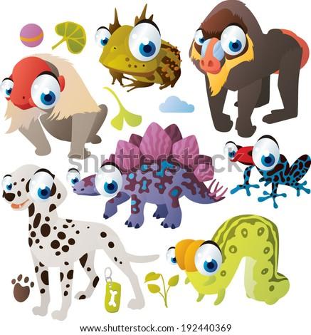 Vector animal set: Uakari, Horned Frog, Gamadril, Stegosaurus, Tree-frog, Dalmatian, Inchworm - stock vector