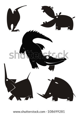 Vector animal silhouettes collection for design - stock vector