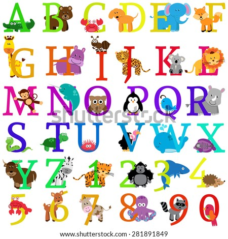 Vector Animal Themed Alphabet - stock vector