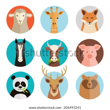 vector animals avatars collection in flat style - stock vector