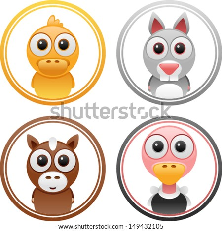 vector animals badge set 2 - Separate layers for easy editing - stock vector