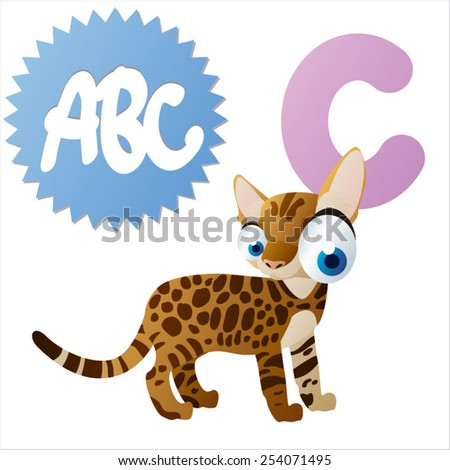 vector animals cartoon abc: C is for cat - stock vector