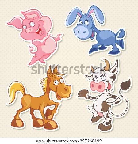 Vector animals cartoon characters. Cool Sticker designs - stock vector