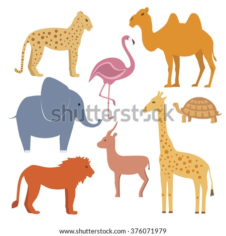 Vector animals set including giraffe, turtle, elephant, lion, leopard, flamingo, gazelle, camel / Flat disign - stock vector