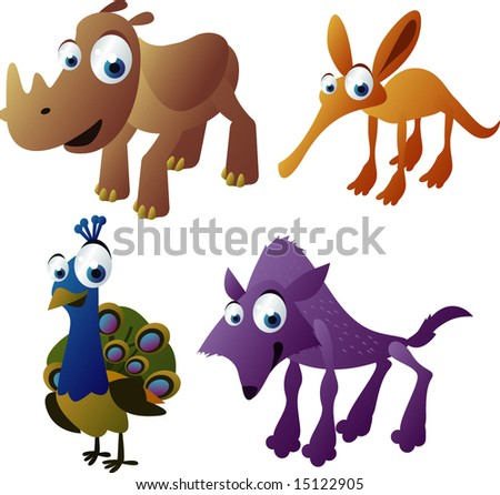 vector animals set 13: rhino, anteater, peacock, wolf