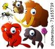 vector animals: vole, fly, mammoth, tamarin, sea cow - stock photo