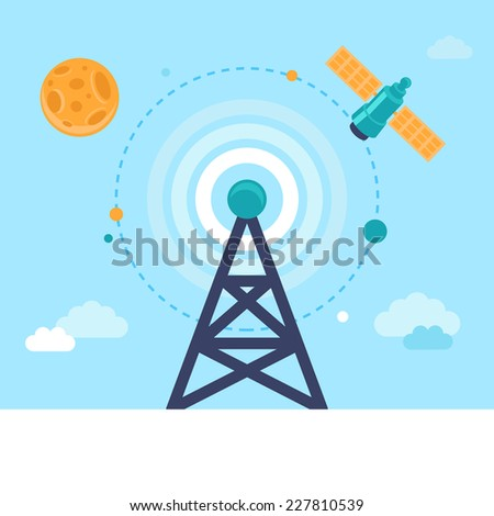 Vector antenna tower and satellite icons in flat style - global communication concept - stock vector