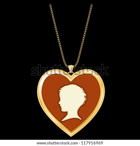 vector - Antique Gold Heart Locket, child's cameo silhouette, chain necklace. Vintage keepsake. Isolated on black background. EPS8 compatible, organized in groups for easy editing. - stock vector