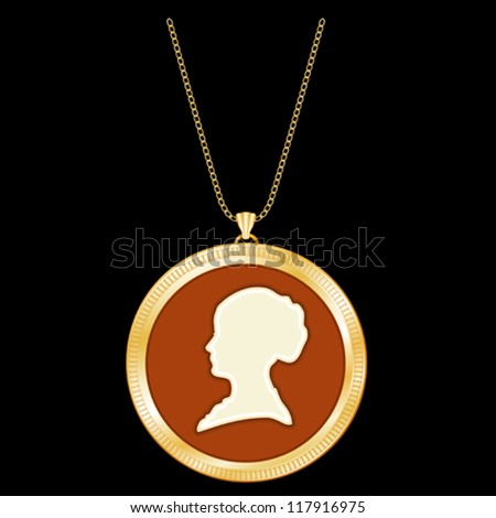 vector - Antique Gold Locket, gentle woman cameo silhouette, chain necklace. Vintage keepsake. Isolated on black background. EPS8 compatible, organized in groups for easy editing. - stock vector