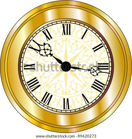 Vector Antique looking Golden Clock - stock vector