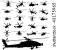 vector apache helicopter silhouettes - stock vector