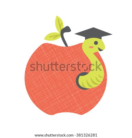 Vector Apple and Worm Illustration - stock vector