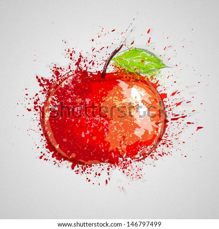 Vector apple drawn with paint blots.  - stock vector