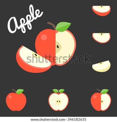 Vector apple, flat design - stock vector