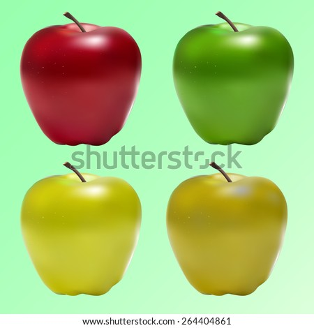 vector apple red, green, yellow colors for printing, web sites about food - stock vector