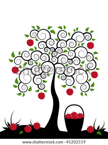 vector apple tree and basket of apples on white background - stock vector