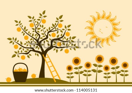 vector apple tree, basket of apples and sunflowers - stock vector