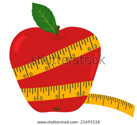 Vector apple with measuring tape - Diet concept - stock vector