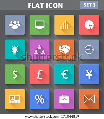 Vector application Business Icons set in flat style with long shadows. - stock vector