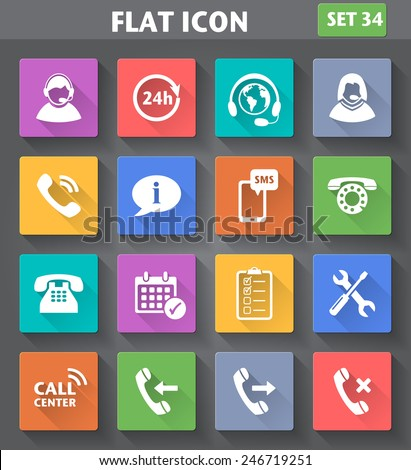 Vector application Call Center Service Icons set in flat style with long shadows. - stock vector