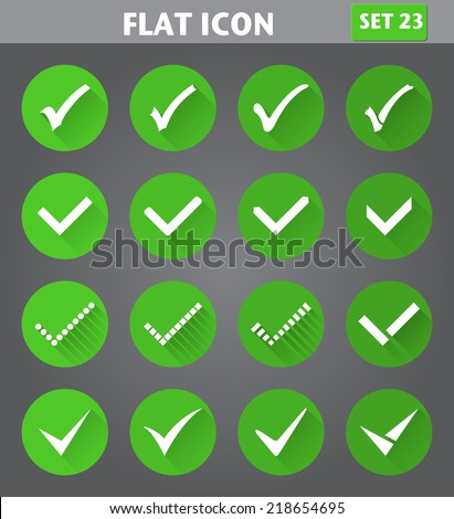 Vector application Check Marks or Ticks Icons set in flat style with long shadows. - stock vector