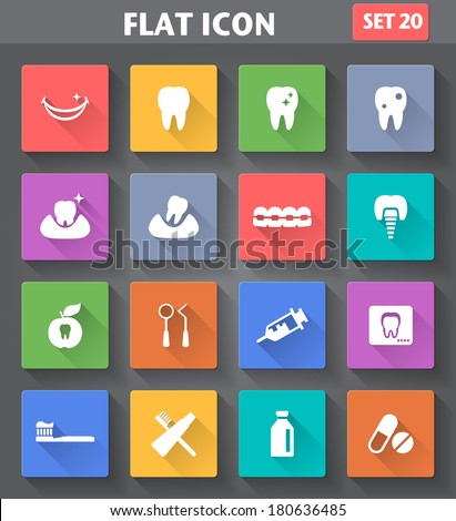 Vector application Dental Icons set in flat style with long shadows. - stock vector