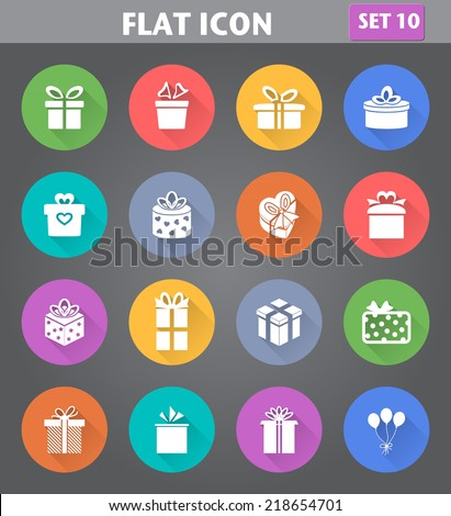 Vector application Gift Box Icons set in flat style with long shadows. - stock vector