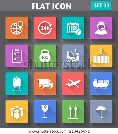 Vector application Logistics and Shipping Icons set in flat style with long shadows - stock vector