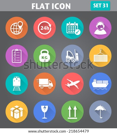 Vector application Logistics and Shipping Icons set in flat style with long shadows. - stock vector