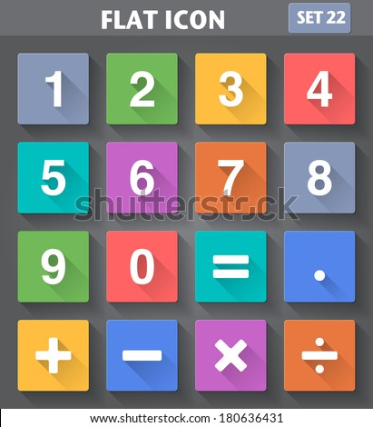 Vector application Numbers and Mathematical Icons set in flat style with long shadows. - stock vector