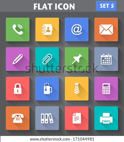 Vector application Office Icons set in flat style with long shadows. - stock vector