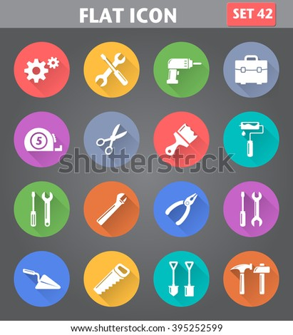 Vector application Tools Icons set in flat style with long shadows. - stock vector