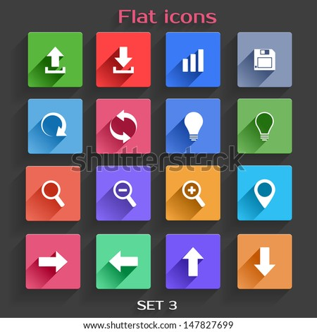 Vector Application  Web Navigation Icons Set in Flat Design with Long Shadows - stock vector