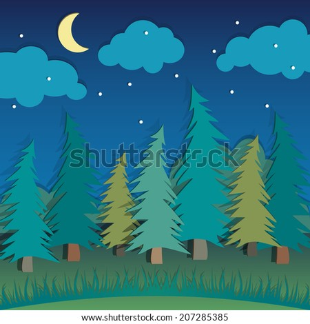 Vector applique with night forest landscape - stock vector