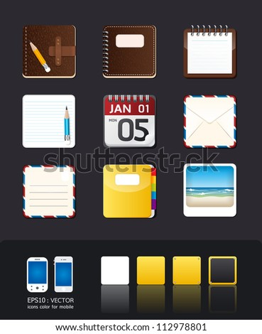 vector apps icon set/tablet & mobile phone app - stock vector