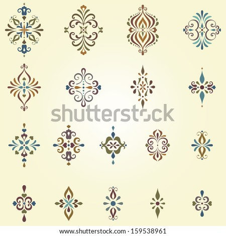 Vector arabesques and swirl ornate motifs. Can be used for creation damask seamless patterns. Elements can be ungrouped for easy editing. - stock vector