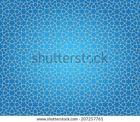 Vector Arabic Pattern on a Blue Background - stock vector