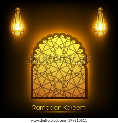 vector arabic window with intricate arabic pattern and illuminated lamps arabic lamps for the celebration of ramadan kareem and other muslim festivals. - stock vector