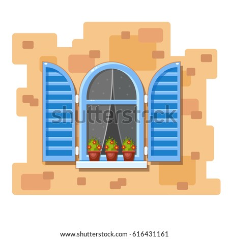 Window shutters stock images royalty free images for Window design cartoon
