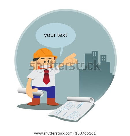 vector Architect in construction site  - stock vector